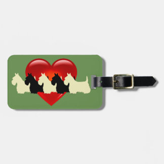 Scottish Terrier dog, red heart, zazzle green Luggage Tag