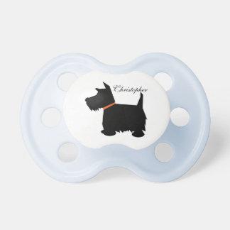 Scottish Terrier dog silhouette custom boys name Baby Pacifier