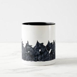 Scottish Terrier Gathering Two-Tone Coffee Mug