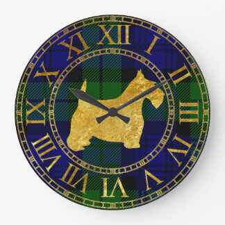 Scottish Terrier Gold and Plaid Large Clock