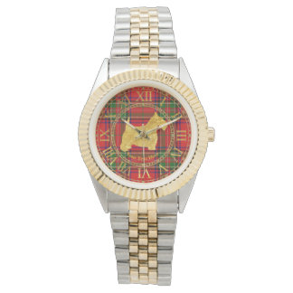 Scottish Terrier Gold Plaid Personalize Watch