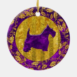 Scottish Terrier Gold Purple Ceramic Ornament