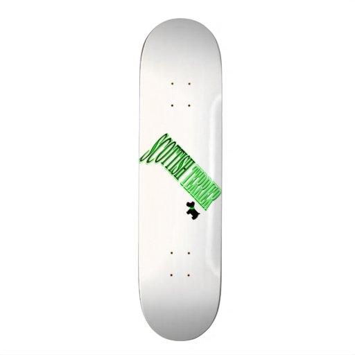 Scottish Terrier Green/Black/White Skate Deck