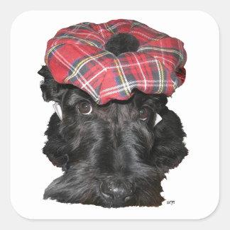 Scottish Terrier in a Tam-o-Shanter Square Sticker