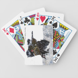 Scottish Terrier in Falling Snow Bicycle Playing Cards