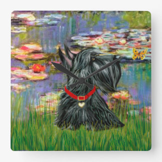Scottish Terrier in Monet's Lilies Square Wall Clock