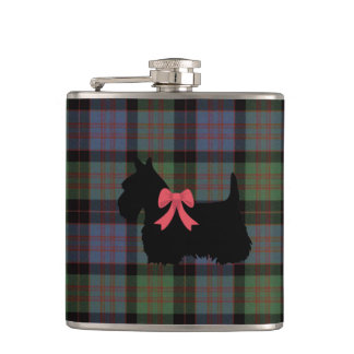 Scottish Terrier, Macdonald tartan plaid print Hip Flask