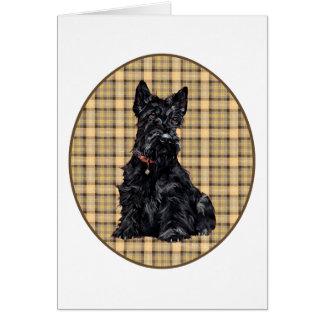 Scottish Terrier on Plaid Card