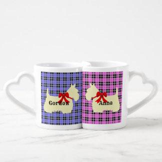 Scottish Terrier, plaid pink/blue, red heart/love Coffee Mug Set