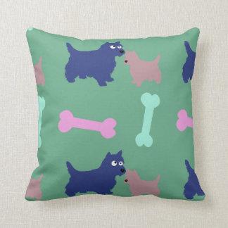 Scottish Terrier Puppy Bones Light Green Pillow