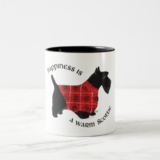 Scottish Terrier Red & Black Plaid Sweater Two-Tone Coffee Mug