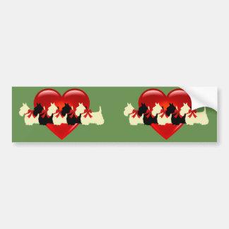 Scottish Terrier, red bow, Scottie/wheaten/heart Bumper Sticker