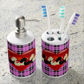 Scottish Terrier, red heart, light pink, plaid Soap Dispenser And Toothbrush Holder