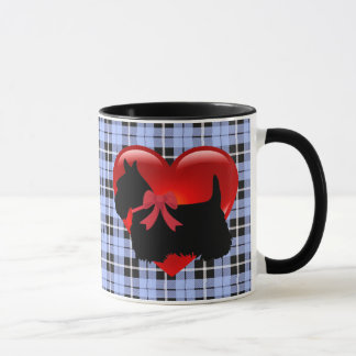 Scottish Terrier red heart/love Baby blue Plaid Mug