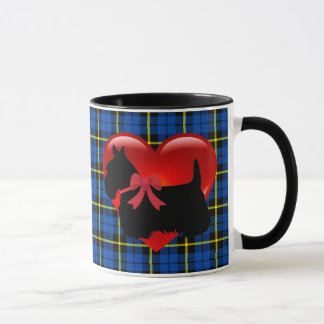 Scottish Terrier, red heart/love Bright blue plaid Mug