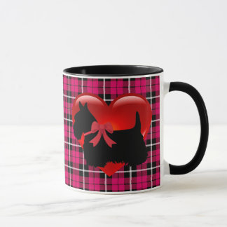Scottish Terrier red heart/love Bright pink Plaid Mug