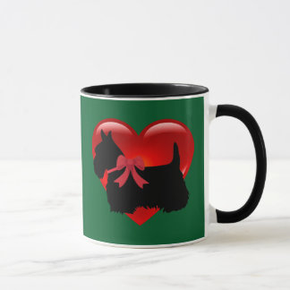 Scottish Terrier red heart/love Kelly/Irish green Mug