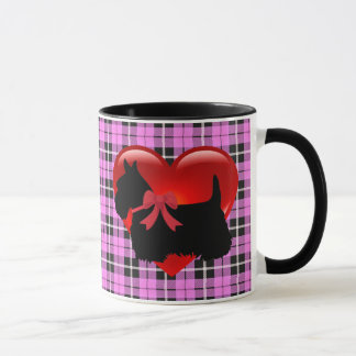 Scottish Terrier red heart/love Light pink Plaid Mug