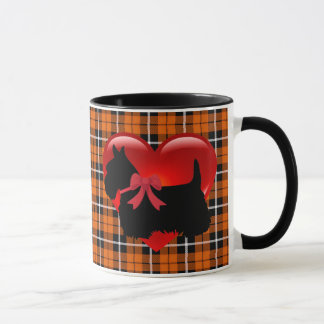 Scottish Terrier red heart/love Orange Plaid Mug
