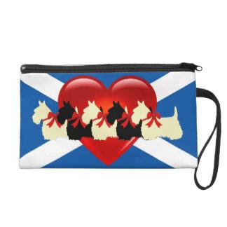 Scottish Terrier, red heart, Saint Andrews flag Wristlet