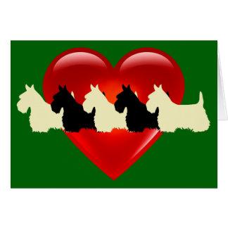 Scottish Terrier, red heart, silhouette blank Card