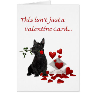 Scottish Terrier Rose and Hearts Valentine Card