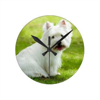 scottish terrier round clock