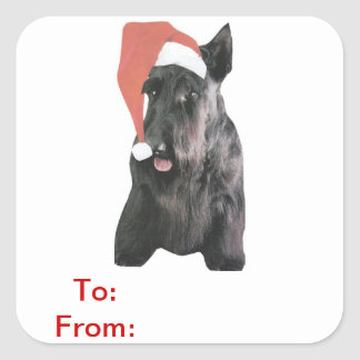 Scottish Terrier Santa Hat Gift Tags Sticker