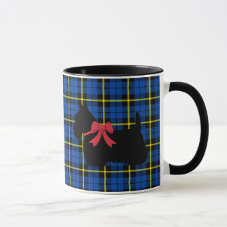 Scottish Terrier, Scotland dog, Bright blue plaid Mug