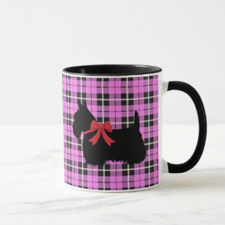 Scottish Terrier, Scotland dog, Light pink plaid Mug