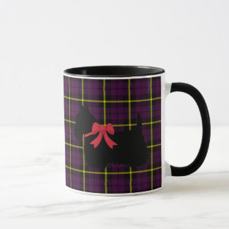 Scottish Terrier, Scotland dog, Plum purple plaid Mug