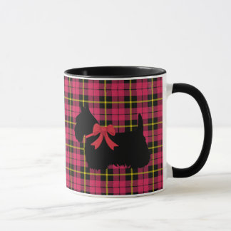 Scottish Terrier, Scotland dog, Warm pink plaid Mug