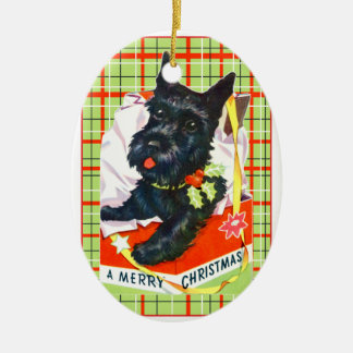 Scottish Terrier Scottie Dog with gift and plaid Ceramic Oval Decoration