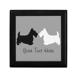 Scottish Terrier Silhouette Duet Small Square Gift Box