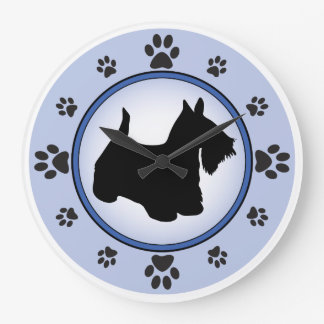 Scottish Terrier Silhouette Large Clock