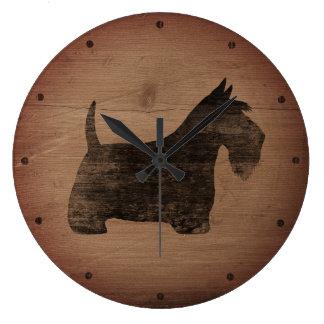 Scottish Terrier Silhouette Rustic Large Clock