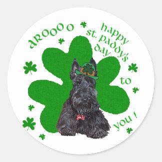 Scottish Terrier St. Paddys Day Round Sticker