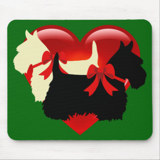 Scottish Terrier/terriers silhouette, Island green Mouse Pad
