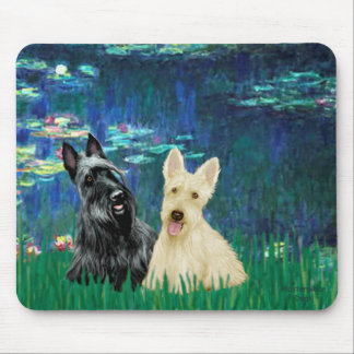 Scottish Terrier (two-BW) - Lilies 5 Mouse Mat