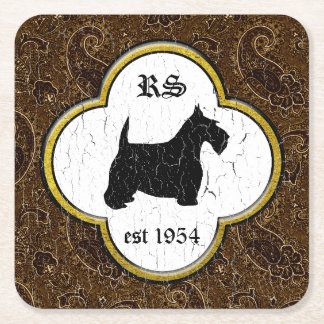 Scottish Terrier Vintage Paisley Personalize Square Paper Coaster
