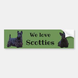 Scottish Terrier, We love, Scotties/black Bumper Sticker