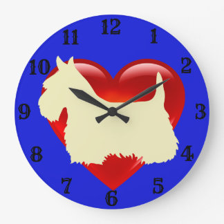 Scottish Terrier white silhouette red heart/blue Large Clock