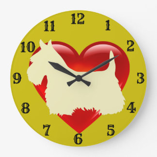 Scottish Terrier white silhouette red heart/gold Large Clock