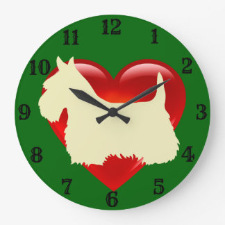 Scottish Terrier white silhouette red heart/green Large Clock