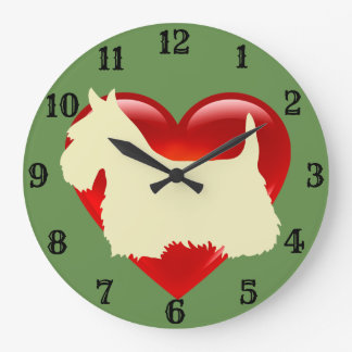 Scottish Terrier white silhouette red heart Large Clock