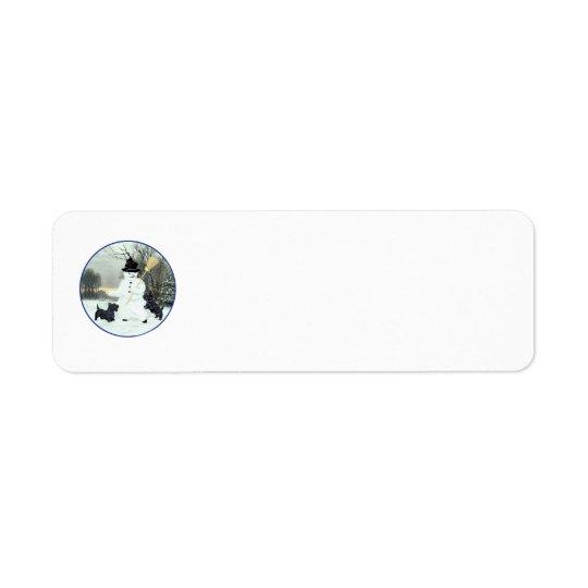 Scottish Terriers Build a Snowman Return Address Label