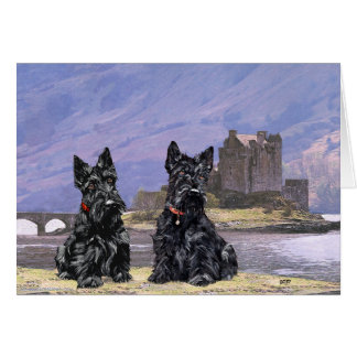 Scottish Terriers sightseeing in Scotland Card