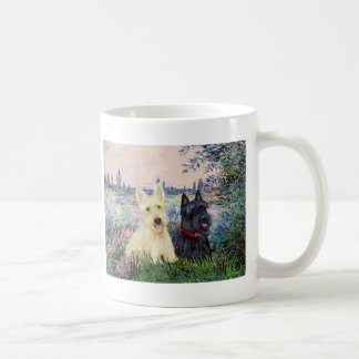 Scottish Terriers (two-BW) - By the Seine Basic White Mug