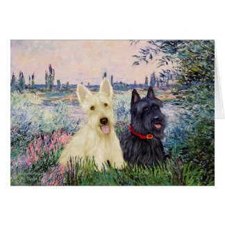 Scottish Terriers (two-BW) - By the Seine Card