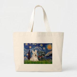 Scottish Terriers (two-BW) - Starry Night Jumbo Tote Bag